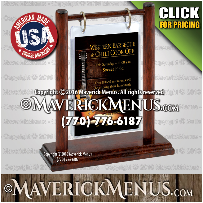 Custom Wooden Table Tents Made In The USA - Flip top table tent