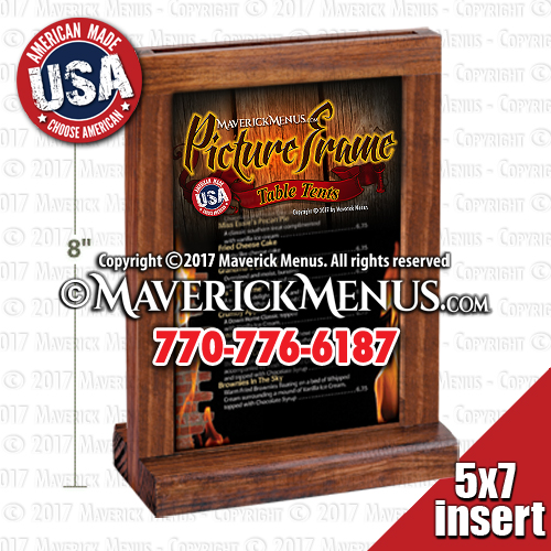 wooden picture frame table tent display holders by maverick menus