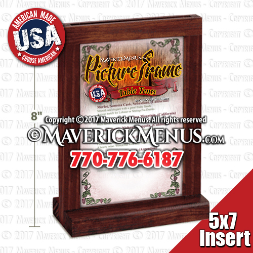 Wood Picture Frame Table Tents - MM-PF-57-B-RED OAK